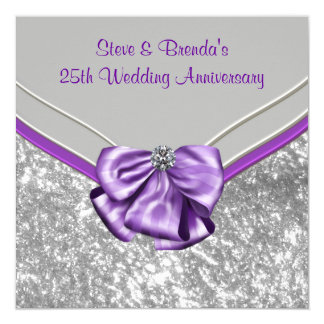 Silver Purple 25th Wedding Anniversary Party 5.25x5.25 Square Paper Invitation Card