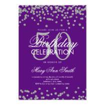 Silver Purple 50th Birthday Party Glitter Confetti Card