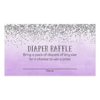 Silver Purple Baby Shower Diaper Raffle Tickets Business Card