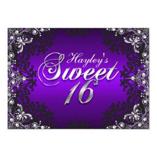 Silver Purple Black Pearl Damask Sweet 16 Invite