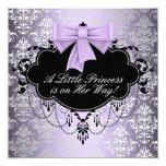 Silver Purple Black Princess Baby Girl Shower Card