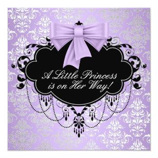 Silver Purple Black Princess Baby Girl Shower Invitation