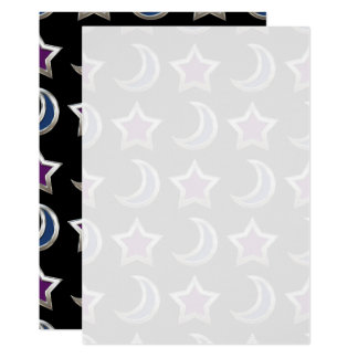 Silver Purple Blue Stars and Moons Pattern Black Card