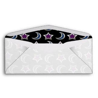 Silver Purple Blue Stars and Moons Pattern Black Envelope