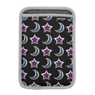 Silver Purple Blue Stars and Moons Pattern Black iPad Mini Sleeves