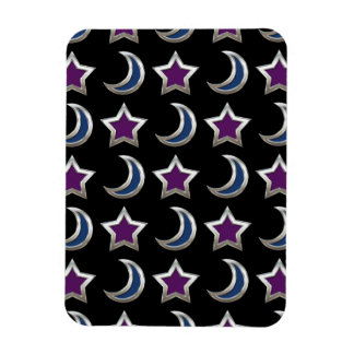 Silver Purple Blue Stars and Moons Pattern Black Magnet