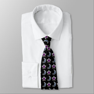 Silver Purple Blue Stars and Moons Pattern Black Neck Tie