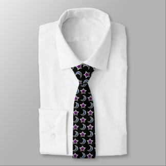Silver Purple Blue Stars and Moons Pattern Black Necktie