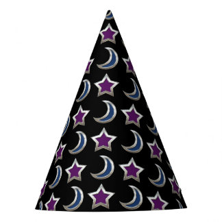Silver Purple Blue Stars and Moons Pattern Black Party Hat