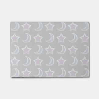 Silver Purple Blue Stars and Moons Pattern Black Post-it Notes
