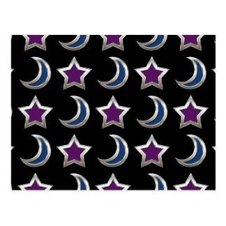 Silver Purple Blue Stars and Moons Pattern Black Postcard