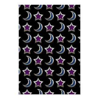 Silver Purple Blue Stars and Moons Pattern Black Poster