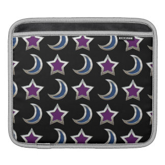 Silver Purple Blue Stars and Moons Pattern Black Sleeve For iPads