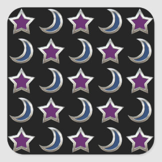 Silver Purple Blue Stars and Moons Pattern Black Square Sticker