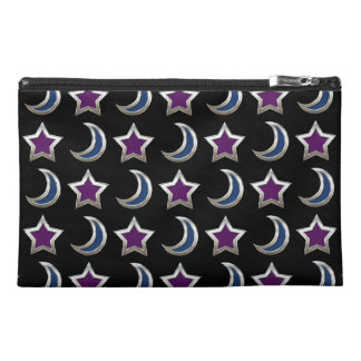 Silver Purple Blue Stars and Moons Pattern Black Travel Accessories Bags