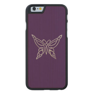 Silver Purple Celtic Butterfly Curling Knots Carved® Maple iPhone 6 Slim Case