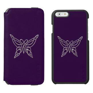 Silver Purple Celtic Butterfly Curling Knots iPhone 6/6s Wallet Case