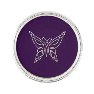 Silver Purple Celtic Butterfly Curling Knots Lapel Pin