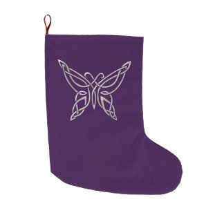 Silver Purple Celtic Butterfly Curling Knots Large Christmas Stocking