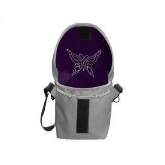 Silver Purple Celtic Butterfly Curling Knots Messenger Bags