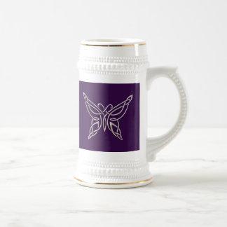Silver Purple Celtic Butterfly Curling Knots 18 Oz Beer Stein