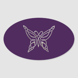 Silver Purple Celtic Butterfly Curling Knots Oval Sticker