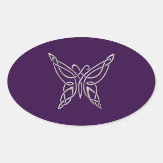 Silver Purple Celtic Butterfly Curling Knots Oval Sticker
