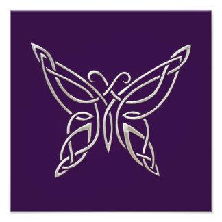 Silver Purple Celtic Butterfly Curling Knots Photo Print