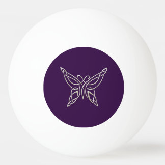 Silver Purple Celtic Butterfly Curling Knots Ping-Pong Ball