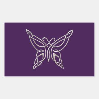 Silver Purple Celtic Butterfly Curling Knots Rectangular Sticker