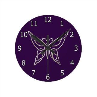 Silver Purple Celtic Butterfly Curling Knots Round Wallclocks