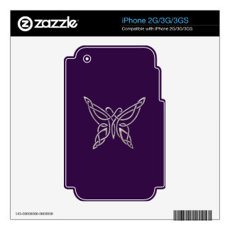 Silver Purple Celtic Butterfly Curling Knots Skins For The iPhone 3