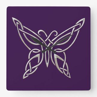 Silver Purple Celtic Butterfly Curling Knots Square Wall Clock