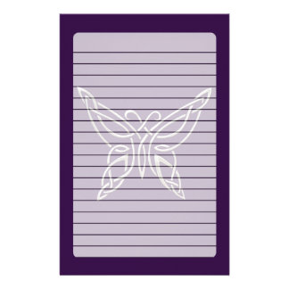 Silver Purple Celtic Butterfly Curling Knots Stationery