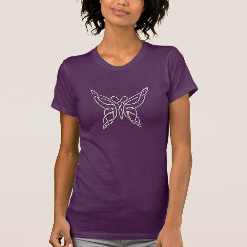 Silver Purple Celtic Butterfly Curling Knots T_Shirt