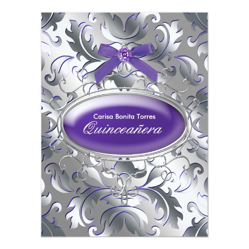Silver Purple Damask Elegant Purple Quinceanera 6.5x8.75 Paper Invitation Card