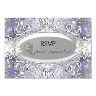 Silver & Purple Damask Pearl Quinceanera RSVP 3.5x5 Paper Invitation Card