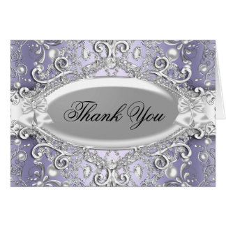 Silver & Purple Damask Pearl Thank You Card