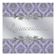 Silver Purple Damask Quinceanera Announcements