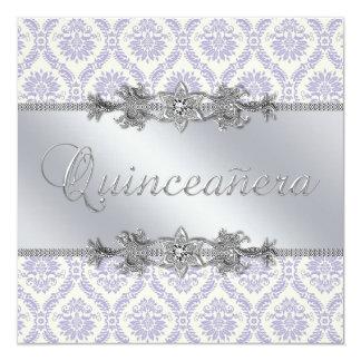 Silver Purple Damask Quinceanera Invitation