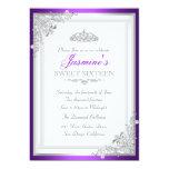 Silver Purple Damask & Tiara Sweet 16 Invitation