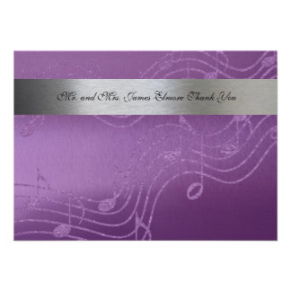 Silver Purple Fancy Flat Music Thank You Notes Personalized Announcement