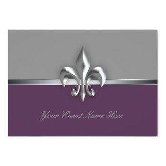 Silver Purple Fleur de Lis Event Card