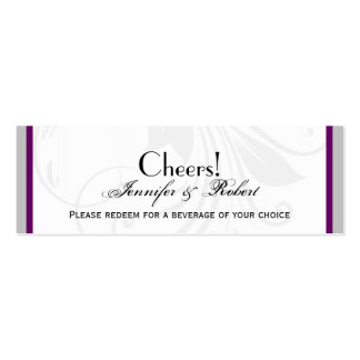 Silver Purple Floral Heart Wedding Drink Ticket Double-Sided Mini Business Cards (Pack Of 20)