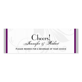 Silver Purple Floral Heart Wedding Drink Ticket Mini Business Card