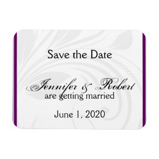 Silver Purple Floral Heart Wedding Save the Date Magnet