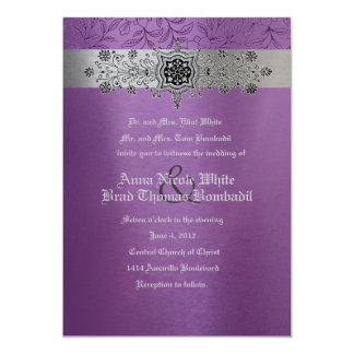 Silver & Purple Floral Metallic Wedding Invitation