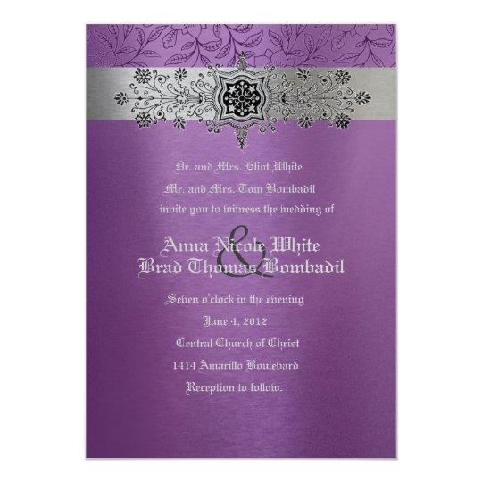Silver And Purple Blank Invitations: Silver & Purple Floral Metallic Wedding Invitation