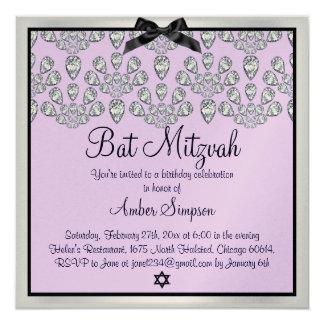 Silver/Purple Forever Diamonds Bat Mitzvah Invite