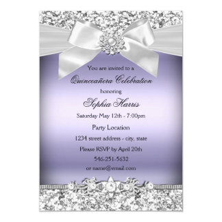 Silver Purple Glitter & Jewel Bow Quinceanera Card